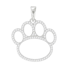 Animal Jewelry Sterling Silver Pave Cubic Zirconia Dog Paw Pring Pendant