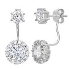Sparkly Cubic Zirconia Sterling Silver Front and Back Drop Earrings for Women