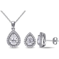 925 Sterling Silver Created White Sapphire Set of Necklace and Earrings