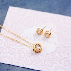 Sterling Silver Round Solitaire Necklace and Earrings Gift Set