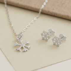 Sterling Silver Snowflake Necklace and Earrings with Best Price