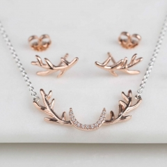 Rose Gold Stag Antler Necklace and Earrings Set in 925 Sterling Silver