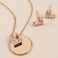 Sterling Silver CZ Heart and Disc Charms Necklace Earrings Set