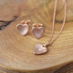 Rose Gold Heart CZ Pendant Necklace and Earrings in 925 Silver