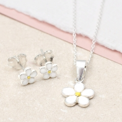 Sterling Silver and Enamel Daisy Necklace Set for Girls