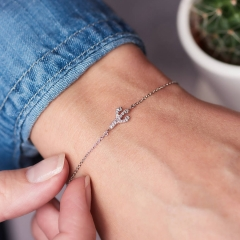Simple Design Sterling Silver Cubic Zirconia Cactus Bracelet for Girls