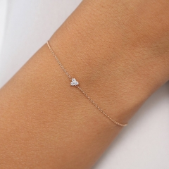Sterling Silver Round Cut CZ Trio Clucter Floating Bracelet for Women