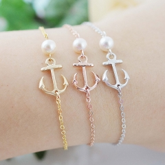 Friendship Jewelry Sterling Silver Anchor Bracelet with Pearl Christmas Gift