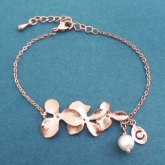 Beautiful Sterling Silver Rose Gold Orchid Flower Bracelet for Wedding