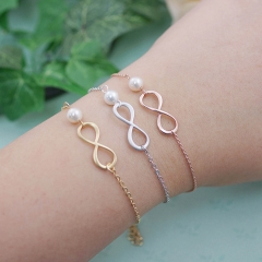Bridesmaid Jewelry Sterling Silver Infinity Bracelet with Pearl for Wedding