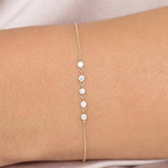 Dainty Sterling Silver 5 Link Floating Cubic Zirconia Chain Bracelet