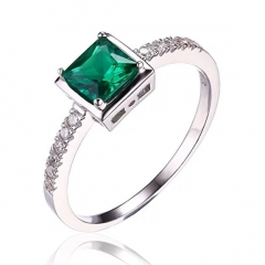 Simulated Green Nano Russian Emerald Solitaire Ring 925 Sterling Silver