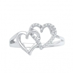 Sterling Silver Round Diamond Double Heart Ring