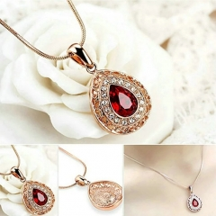 Rose Gold Gorgeous Vintage Garnet Chandelier Pendant Necklace and Drop Earrings Wedding Set