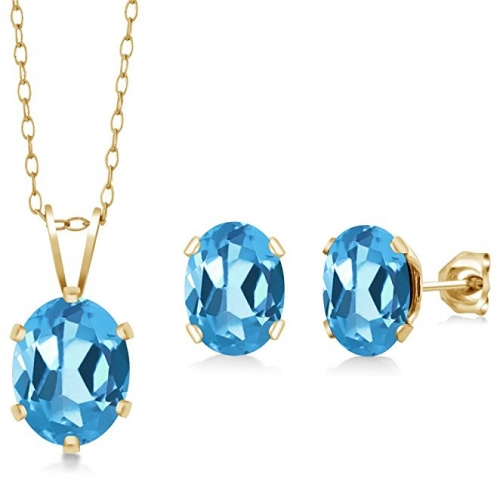 Oval Blue Topaz Gold Plated Silver Pendant Earrings Set