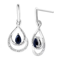 Sapphire Pendant and Earrings Set with Diamonds in Sterling Silver