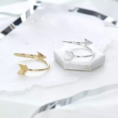 Newest Design Silver 925 Plain Gold Plated Bow and Arrow Ring in Open Size