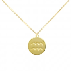 Sterling Silver 14K Gold Over Aquarius Zodiac Pendant Necklace
