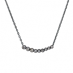 Black Gold Sterling Silver Bezel Set Cubic Zirconia Curved Necklace