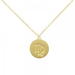 Sterling Silver 14K Gold Over Virgo Zodiac Pendant Necklace