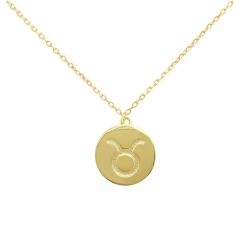 Sterling Silver 14K Gold Over Taurus Zodiac Pendant Necklace