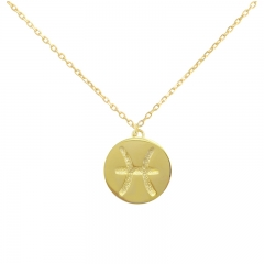 Sterling Silver 14K Gold Over Pisces Zodiac Pendant Necklace
