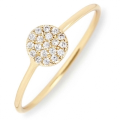 Sterling Silver Gold Plated Round Pave CZ Disc Delicated Round Rings