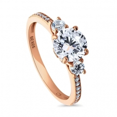 Rose Gold Plated Sterling Silver Cubic Zirconia CZ 3-Stone Promise Engagement Ring