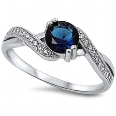 Round Simulated Blue Sapphire & White Cubic Zirconia 925 Sterling Silver Ring