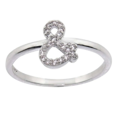 Rhodium-plated Cubic Zirconia Pave Ampersand Punctuation Ring