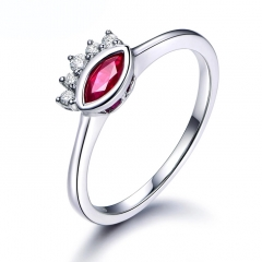 Latest Design Ruby Ring Silver Wedding Ring For Lady