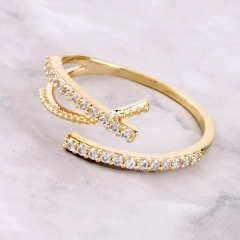 18K Gold Plated Sterling Silver Open Size Ring Women Jewelry
