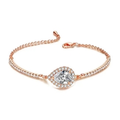 Cute Pear Shaped CZ Charm 18k Rose Gold Plated Women Adjust Chain Bracelets