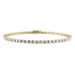 Handmade Jewelry Sterling Silver 14K Gold Diamond Tennis Bracelet