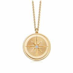 Women Decoration S925 Silver 18K Gold Finished Compass Pendant Necklace