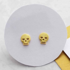 Christmas Jewelry Sterling Silver Mini Skull Stud Earrings HK