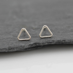 Earrings Design for Daily Use Silver Mini Geometric Triangle Studs for Kids