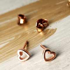 Jewelry Seller Dainty Heart Silver Stud Earrings for Gift