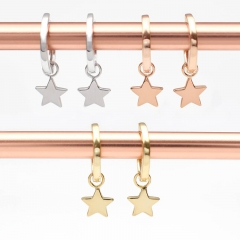 Jewelry Products Sterling Silver Star Charm Hoop Earrings for Girl