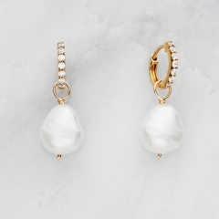 Sterling Silver 14K Gold Cubic Zirconia Huggie Irregular Baroque Pearl Drop Earrings