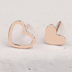 China Supplier Pretty Design Sterling Silver Heart Stud Earrings