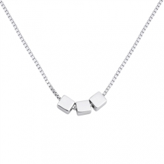 Dainty Design Sterling Silver Triple Cube Necklace on Sale