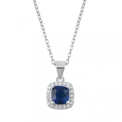 Sterling Silver Bue Sapphire and Emerald Cubic Zirconia Pendant Necklace
