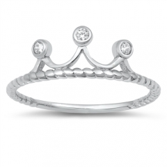 Thin Crown Ring Sterling Silver Clear CZ Tiara Band Ring for Girls
