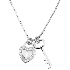 Custom Jewelry Sterling Silver White Cubic Zirconia Key to the Heart Necklace Best Gift