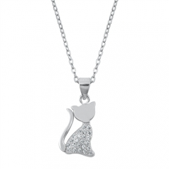 Animal Jewelry Sterling Silver Clear Cubic Zirconia Dainty Cat Pendant Necklace
