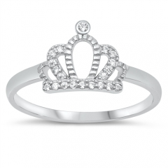 Stackable Cubic Zirconia Tiara Crown Wedding Band Ring for Women