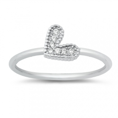 Best Selling Items Sterling Silver CZ Small Heart Simple Finger Ring