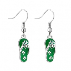 Dainty Sterling Silver Emerald CZ Green Enamel Slipper Hook Earrings