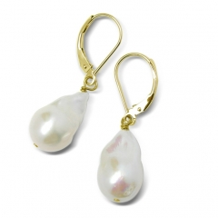 White Cultured Freshwater Pearl Sterling Silver Leverback Earrings